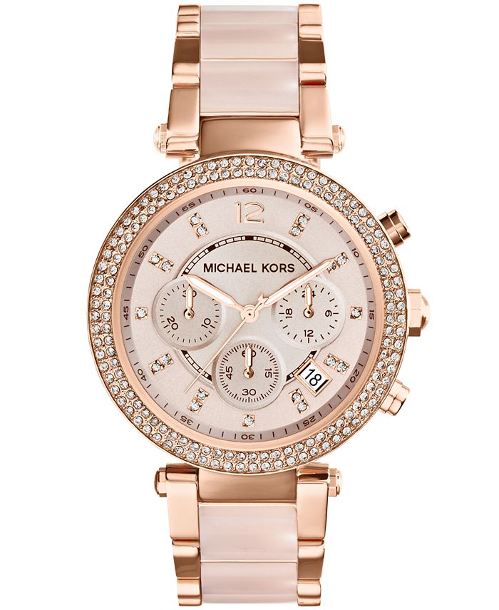 Michael Kors - Women's Chronograph Parker Blush and Rose Gold-Tone Stainless Steel Bracelet Watch 39mm MK5896