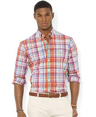 Polo ralph lauren plaid poplin bleecker pocket sport shirt for Polo ralph lauren casual button down shirts