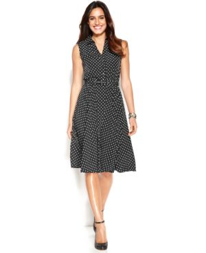Alfani Petite Sleeveless Belted Polka-Dot Dress