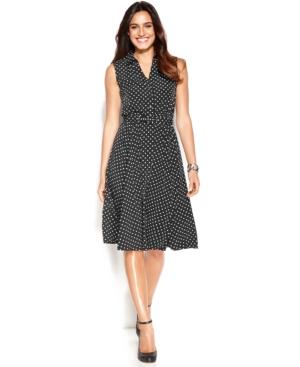 Alfani Petite Sleeveless Belted Polka-Dot Dress