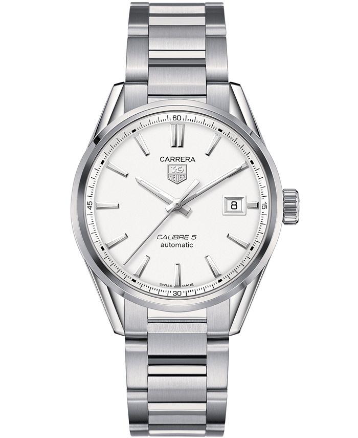 TAG Heuer - Men's Swiss Automatic Carrera Calibre 5 Stainless Steel Bracelet Watch 39mm WAR211B.BA0782