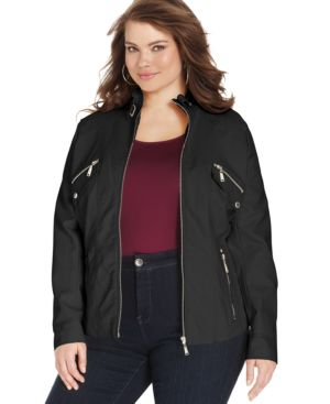 Jou Jou Plus Size Faux-Leather Moto Jacket