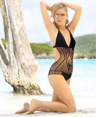 BCBG Crocheted Cutout One-Piece