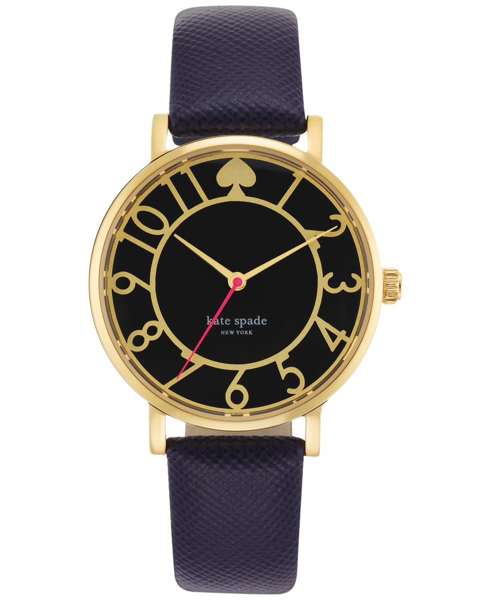 kate spade new york Watch, Womens Metro Black Leather Strap 34mm 1YRU0107   Watches   Jewelry & Watches