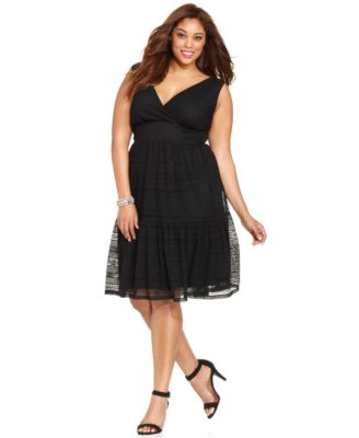Style co plus size dress sleeveless polka dot tiered a for Macy s wedding dresses plus size