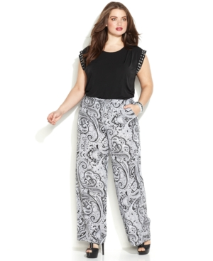 Michael Michael Kors Plus Size Printed Wide-Leg Soft Pants