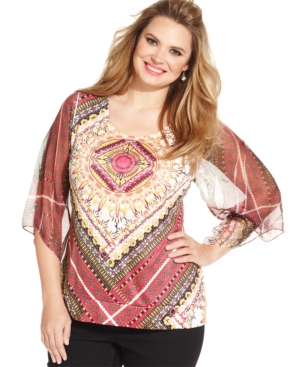 Style & co. Plus Size Kimono-Sleeve Printed Top