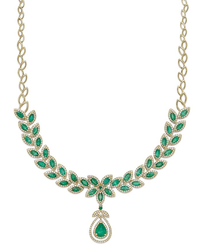 EFFY Collection - Emerald (11-3/4 ct. t.w.) and Diamond (2-3/4 ct. t.w.) Pendant Necklace in 14k Gold