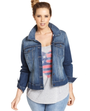Jessica Simpson Plus Size Pixie Denim Jacket, Jefford Wash