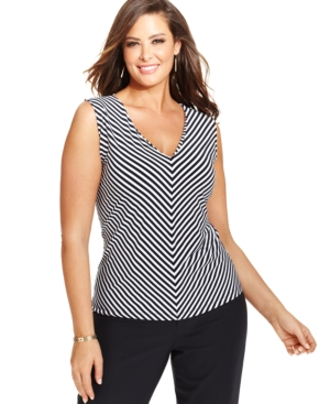 Jones New York Collection Plus Size Sleeveless Striped Top