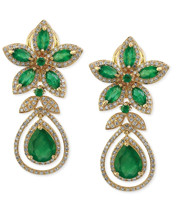 EFFY Collection - Emerald (5-1/4 ct. t.w.) and Diamond (1-1/4 ct. t.w.) Teardrop Earrings in 14k Gold