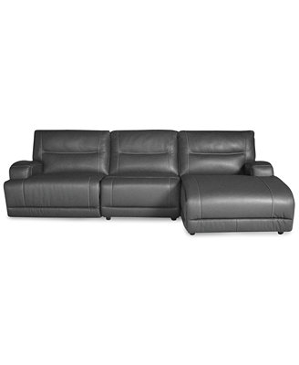 Caruso Leather 3 Piece Power Motion Chaise Sectional Sofa