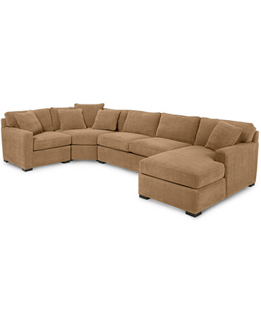 Radley 4 piece fabric chaise sectional sofa custom colors for Radley 5 piece fabric sectional sofa