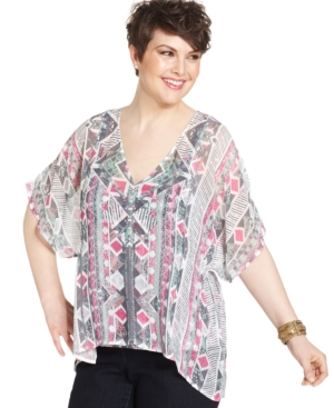 Style & co. Plus Size Printed Studded Top