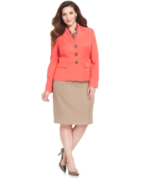 Le Suit Plus Size Contrast-Blazer Skirt Suit with Scarf