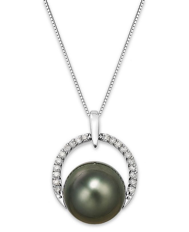 Macy's Tahitian Pearl (12 mm) and Diamond (1/5 ct. t.w.) Arch Pendant Necklace in 14k White Gold