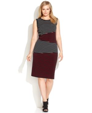 Calvin Klein Plus Size Sleeveless Stripe-Panel Sheath