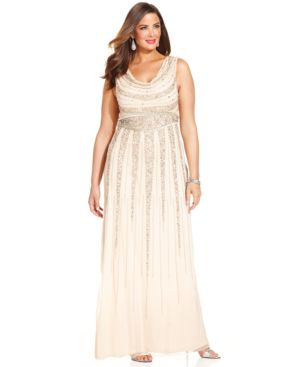 Patra Plus Size Beaded Cowl-Neck Gown
