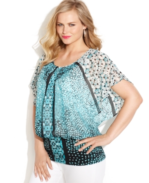 Style & co. Plus Size Flutter-Sleeve Printed Banded Top