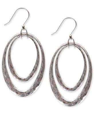 Lucky brand silver tone orbital hoop earrings jewelry for Macy s lucky brand jewelry