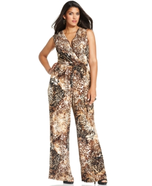 Style & co. Plus Size Sleeveless Animal-Print Jumpsuit