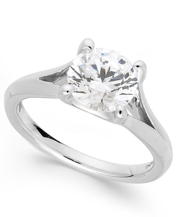 X3 Certified Diamond Split Shank Engagement Ring in 18 White Gold (2 ct. t.w.), Created for Macy's