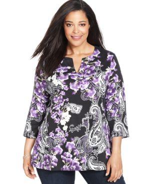 Karen Scott Plus Size Floral-Print Tunic