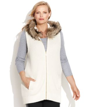 Michael Michael Kors Plus Size Faux-Fur-Trim Hooded Vest