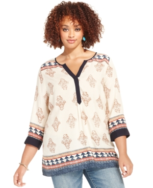 Lucky Brand Plus Size Three-Quarter-Sleeve Printed Tunic