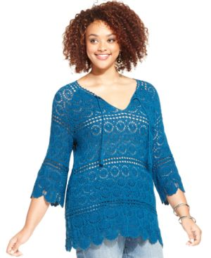 Lucky Brand Plus Size Crochet Tunic Sweater