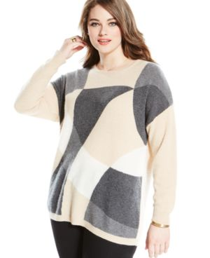 Charter Club Plus Size Cashmere Intarsia-Print Sweater