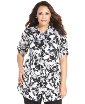 Style & co. Plus Size Splatter-Print Tunic Shirt