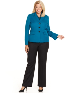 Le Suit Plus Size Three-Button Jacket Pantsuit & Scarf