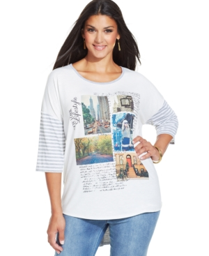 Style & co. Plus Size Graphic-Print High-Low Top