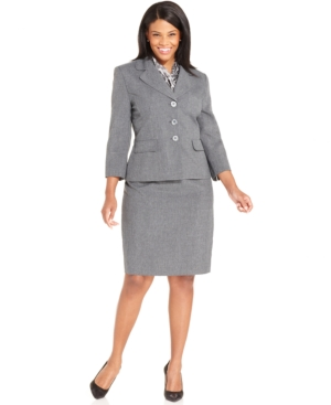 Le Suit Plus Size Melange Skirt Suit with Scarf