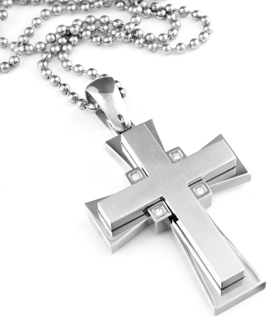 Simmons Jewelry Co. Stainless Steel & Diamond Cross Pendant (1/8 ct. t.w.)   Necklaces   Jewelry & Watches