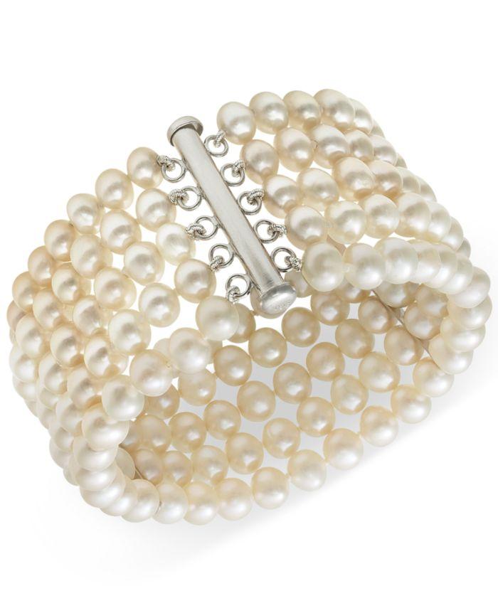 Belle de Mer Cultured Freshwater Pearl Five-Row Bracelet in Sterling Silver (6-7mm) & Reviews - Bracelets - Jewelry & Watches - Macy's