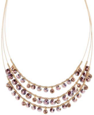 Jones New York Gold-Tone Purple Multi Row Shaky Collar Necklace