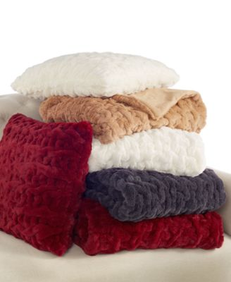 Charter Club Quilted Faux Fur Throw