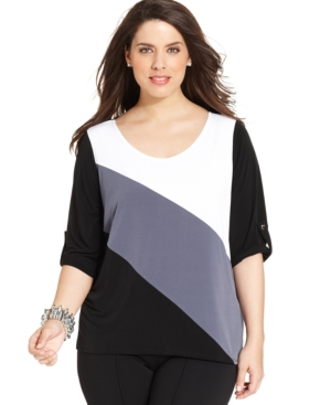 Ny Collection Plus Size Colorblocked Top