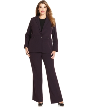 Tahari ASL Plus Size Single-Button Hardware Pantsuit