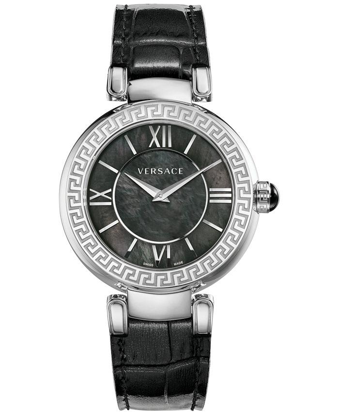 Versace - Women's Swiss V-Pearl Black Leather Strap Watch 38mm VNC01 0014
