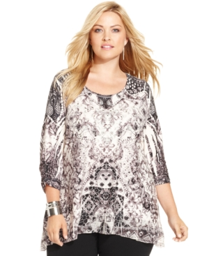 Style & co. Plus Size Printed Sublimated Top