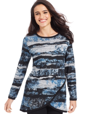 Style & co. Plus Size Printed Tulip-Front Top