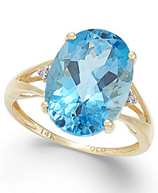 Blue Topaz (6-1/2 ct. t.w.) and Diamond Accent Oval Ring in 14k Gold (Also Available in Mystic Topaz, Amethyst, & Prasolite)