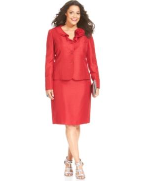 Le Suit Plus Size Ruffle-Collar Shimmer Skirt Suit