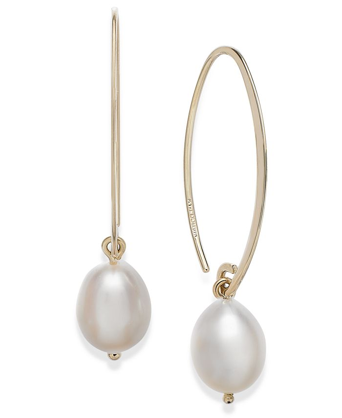 Macy's - 14k Gold Earrings, Cultured Freshwater Pearl Drop