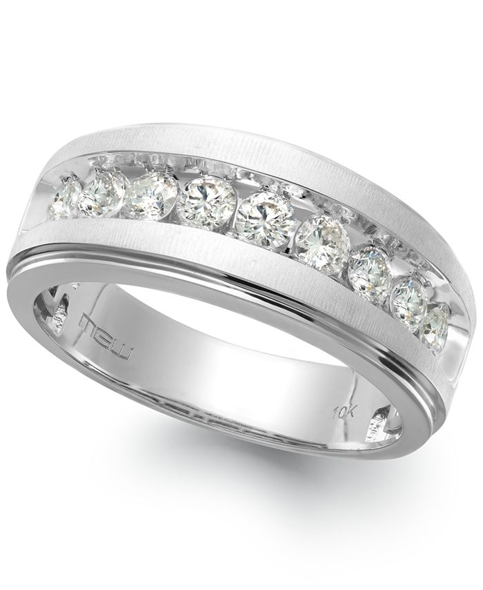 Macy's - Men's Nine-Stone Diamond Ring in 10k White Gold (1/4 ct. t.w.)