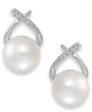 Cultured Freshwater Pearl (8mm) and Diamond Accent Cross Earrings in 14k White Gold 1633203