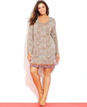 Ellen Tracy Plus Size Long Sleeve Sleepshirt